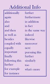 Transition Words Adding Additional Information Ashish