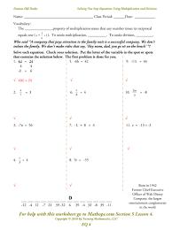 solve one step equations worksheet