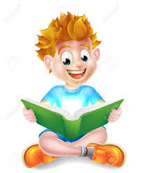 a happy cartoon little boy enjoying reading an amazing book and using his imagination stock vector