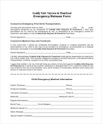 Emergency Form For Daycare Free 8 Sample Emergency Release Forms Pdf