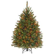 National Tree Company 4.5 ft. Dunhill Fir Artificial Christmas Tree with  Multicolor Lights