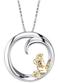18 disney 10k yellow gold sterling silver little mermaid pendant necklace