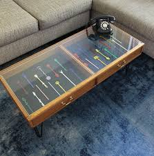 Oak coffee table with display drawer. Upcycled Coffee Table To Display Your Collection