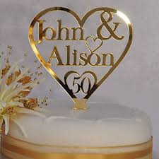 50th Golden Wedding Anniversary Cake Topper Gold Heart Personalised