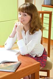 Young Shaved Teen Brunette Schoolgirl Aglaya Wearing Plaid Skirt.