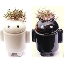 mini office desktop andriod robot mini plant potted bonsai with love grass seeds soil diy mini beautifying office bonsai grass pots planters mini