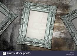 silver antique picture frames. Silver Antique Frames On Weathered Wood Background Picture .