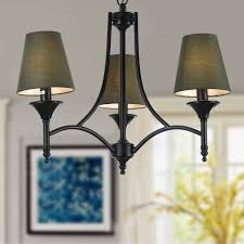 3 light black wrought iron chandelier with cloth shades dk 006 3