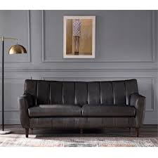 perry channel back leather sofa in gray