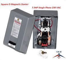 Square D Magnetic Starter Conrtrol Electric Motor 8911dpsg42v09 7 5hp 1 Ph 230v