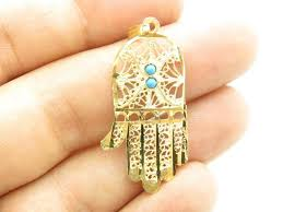 details about 14k yellow gold blue turquoise hamsa hand of design charm pendant gift