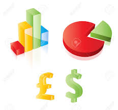 3d Vector Chart Pie Dollar And Pound Sterling Signs Web 2 0