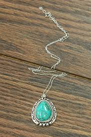turquoise sterling silver pendant necklace decorative teardrop turquoise stone pendant necklace with moon details