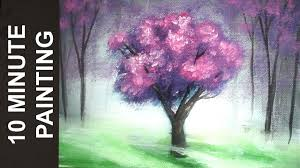 painting a cherry blossom tree in a misty forest with acrylics in 10 minutes myhobbyclass com