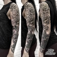 черно белая татуировка тату чб тату рукав чб