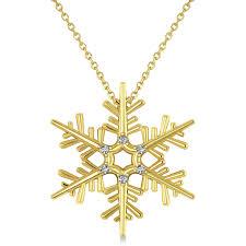 diamond snowflake pendant necklace 14k yellow gold 0 06ct
