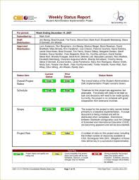 Example Of Project Status Report And Weekly Status Report It Resume