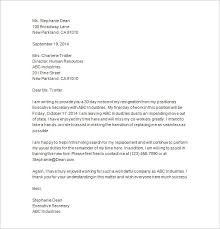 resignation letter with 30 day notice thirty day notice letter