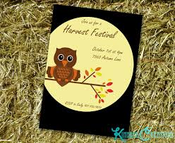 Harvest Festival Fall Owl Party Invite Kindred Creations