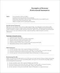 Skill Summary Resume Examples Example Summary For Resume Summary Gorgeous Resume Summary Examples Entry Level