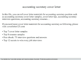 Secretary Cover Letter Accounting Secretary Cover Letter In This