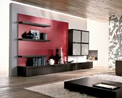 innovative furniture ideas. red accent tone and black floating shelves for modern living room storage furniture ideas with low height coffee table innovative