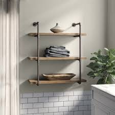Wall furniture shelves Luxury Wall Kennard Tier Industrial Pipe Wall Shelf Yliving Metal Wall Shelves Youll Love Wayfair