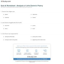 quiz worksheet analysis of john donne s poetry com print john donne poetry analysis overview worksheet