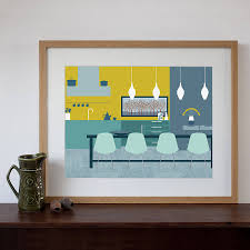 Midcentury Dining Room Art Print Natalie Singh - Art for the dining room