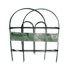 green folding metal wire garden fence 778009 the home depot