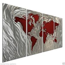 metal wall sculpture by ash carl abstract world map art red silver