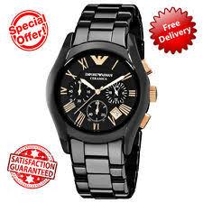 mens armani ceramic watch brand new genuine mens emporio armani ar1410 ceramic black gold watch box