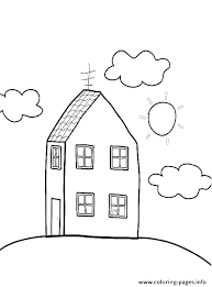 Coloring Page Of A House School House Coloring Page Printable Tree