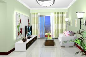pale green walls in small living room