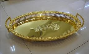 Decorative Metal Serving Trays 100100cm oval goldsilver metal serving tray decorative fruit tray 48
