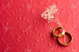 Wedding Photo Background Stylish Red Wedding Background Two Wedding Rings On Embossed