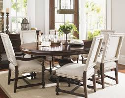 kilimanjaro seven piece maracaibo dining table and cape verde upholstered chairs traditional dining room