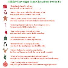 Scavenger Hunt Clues from Tween Us
