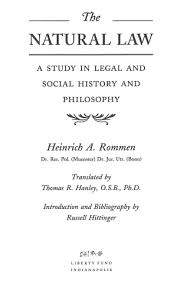 the natural law  a study in legal and social history and     tp