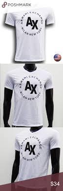Armani Exchange Mens White V Neck T Shirt Size Chart S