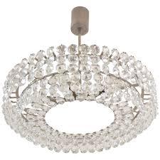 brass nickel plated bakalowits vienna faceted crystal chandelier 1950s vienna