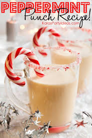 EASY peppermint punch recipe for the Christmas holidays! Via Kara's Party  Ideas - THE place