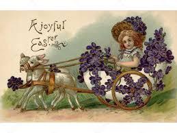 Een vintage Pasen ansichtkaart van een meisje rijden in een wagen vol  viooltjes wordt getrokken door twee lam — Stockfoto © sparkstudio #12093055