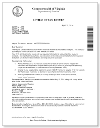 Virginia Department of Taxation Review of Tax Return Letter 1a