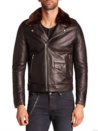the kooples faux fur collar leather moto jacket by men s black
