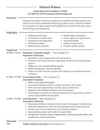 Mechanic Resume Example Auto Skills Enomwarbco Sample Well