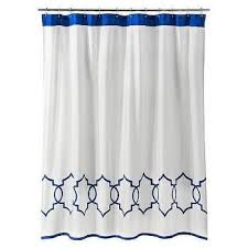threshold blue and white curvy geo shower curtain