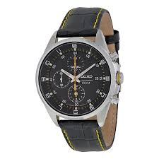 seiko black dial black leather strap chronograph men s watch seiko black dial black leather strap chronograph men s watch sndc89p2