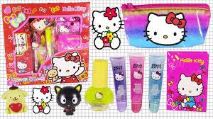 o kitty lip jelly stationery set nail polish cosmetic bag fun