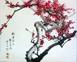 01 title 独占春光 众芳来迟other flowers to follow desc 红梅red plum blossoms painting ink color on paper 22 x26 5 finish silk scroll 26 5 x53